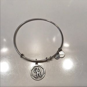 "Silver ""R"" Alex and Ani bracelet"